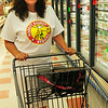 "BRYAN EATON/ Staff Photo. Paula Sargent of Merrimac wearing her ""Market Basket Strong"" t-shirt returned to the Market Basket at Southgate Plaza where she said she'd been boycotting since day one. She participated at customer demonstrations outside that location and company headquarters in Tewksbury as well."