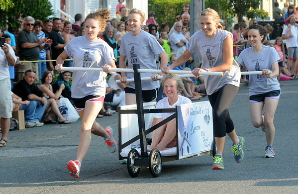 JIM VAIKNORAS/staff photo One of three bed from the Old South Church at the Lions Club Bed Race on Federal Street in Newburyport.