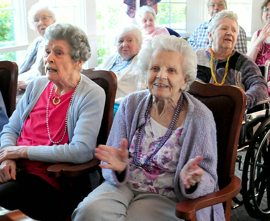 "BRYAN EATON/ Staff Photo. Residents of Brigham Manor clap and sing to ""You Are My Sunshine"" by the Dick Kaplan Excellent Jazz Band in their Nursing Home Series."