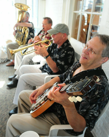 BRYAN EATON/ Staff Photo. Residents of Brigham Manor got to hear music once again by the Dick Kaplan Excellent Jazz Band in their Nursing Home Series, a Yankee Homecoming staple for many years.