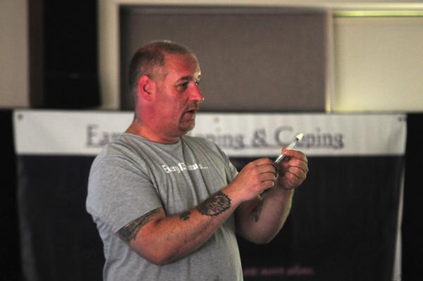 JIM VAIKNORAS/Staff photo <br /> John Burns leads a Narcan Training seminar at Seabrook Library Saturday.