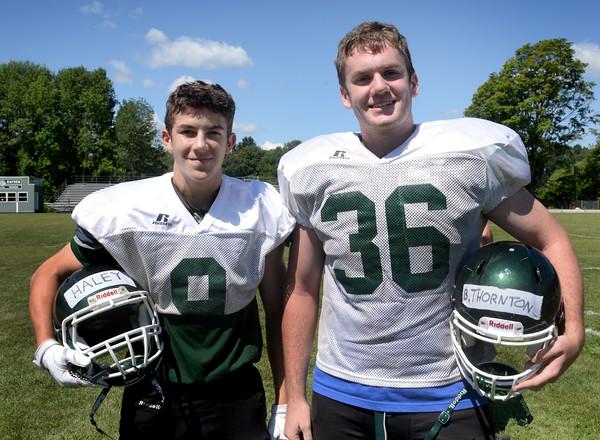 BRYAN EATON/Staff Photo. Pentucket High School football captains Kiernan Haley, left, and Ben Thornton.