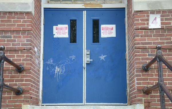 JIM VAIKNORAS/Staff photo  Graffiti at the Brown School building in Newburyport.