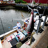 JIM VAIKNORAS/Staff photo Steve Law, his son Sam Law and Seth Nyman aboard the Kraken, with a 681lb tuna brought into Newburyport Friday.