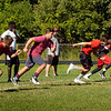 BRYAN EATON/Staff photo. The Amesbury High football team goes through conditioning practice yesterday morning.