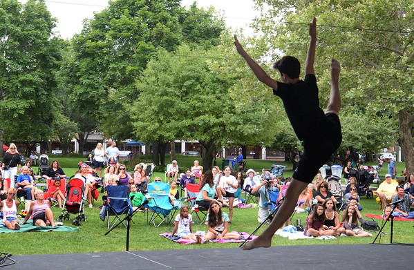 """Bryan Eaton/Staff photo. Jack Caravallo, 16, of Salisbury performs dance to the song """"Colors"""" at the Yankee Homecoming Annual Kids Talent Showcase."""