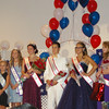 Angeljean Chiaramida/staff photo Miss Seabrook Jaelene Morse , fourth from the left, is  surrounded by her court of runners up and former pageant winners, after the pageant Saturday night at the Seabrook Community Center.
