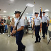 BRYAN EATON/Staff photo. The US Coast Guard Color Guard from Station Merrimack parade into the Elks hall for the Veterans Luncheon.