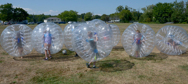JIM VAIKNORAS/ Staff photo Kids play a game of Bubble Soccer at Seabrook Old Home Days Saturday at Seabrook Middle School.
