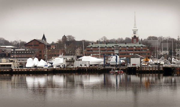 BRYAN EATON/Staff photo. Present view of the Newburyport Waterfront between the Black Cow, far left, and Michael's Harborside, out of view to right, which New England Development has submitted plans to develop.