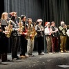 "BRYAN EATON/Staff photo. The Newburyport High School Honors Theater Ensemble and school band members performed in two separate shows at the Molin Upper Elementary and Nock Middle School on Thursday. The shows were billed as ""big kids making holiday music with the little kids."""