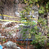 BRYAN EATON/Staff photo. Local and state police along with the FBI have been searching a home and the grounds of 4 Chestnut Street in Georgetown. Very little information is being made to the public. Behind the home is also covered in police tape, and a tarp is seen possibly to block view of parts of the site.