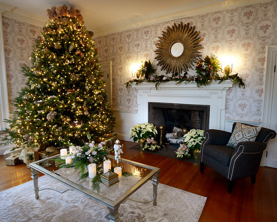 BRYAN EATON/Staff photo. Two of the homes on the Holiday House Tour to benefit the Custom House Maritime Museum. The living room in the Clay home on High Street in Newburyport.