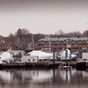 BRYAN EATON/Staff photo. Present view of the Newburyport Waterfront between the Black Cow, at far left, and Michael's Harborside, out of view, right, which New England Development has submitted plans to develop.