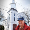 BRYAN EATON/Staff photo. The People's United Methodist Church on Purchase Street in Newburyport's South End is raising funds for repair of its steeple. Long time church member Duncan MacBurnie is chairman of the board of trustees.