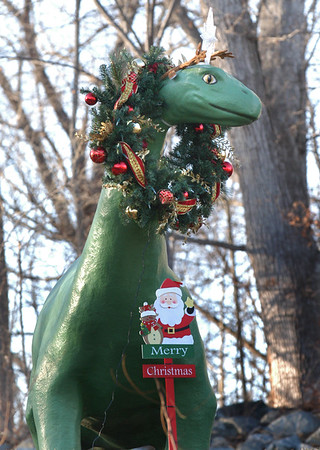 BRYAN EATON/Staff photo. One of more outlandish Christmas decorations seen is this dinosaur with a wreath around its neck. The quirky statue is on Kent Way, just out of downtown Byfield.