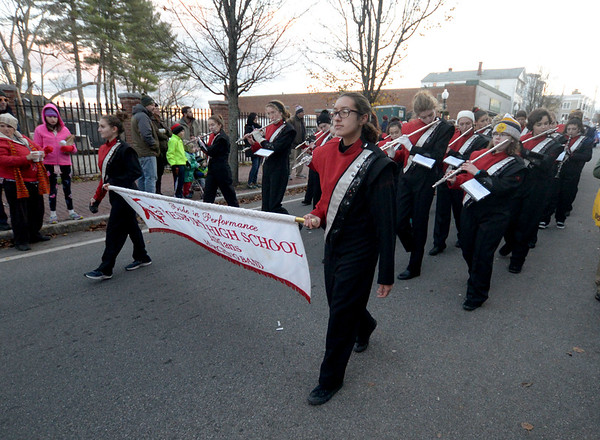 JIM VAIKNORAS/Staff photo The Amesbury High School Marching Band  Amesbury's annual Santa Parade.