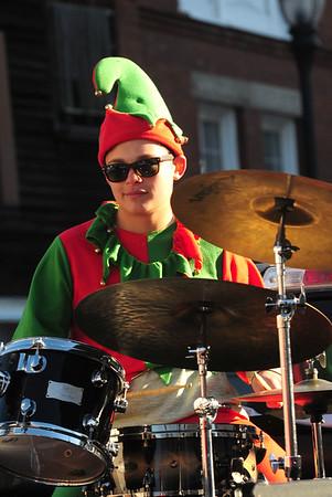 JIM VAIKNORAS/Staff photo John Davis plays tthe drums with the Pentucket Percussion ensemble during the  Annual Merrimac Santa Parade.