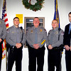 ANGELJEAN CHIARAMIDA/Staff photo. On Monday, five new patrolmen were sworn in as members of the Seabrook Police Department. From the left they are: Travis Brown, Zachary Bunszell, Richard Hines, police Chief Michael Gallagher, Tyler Houldsworth and Daniel Hurley.