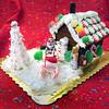 Newburyport: Paula Chambers' gingerbread house has a chocolate Santa Claus on a sleigh. Bryan Eaton/Staff Photo