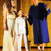 "Newburyport: Joey Cates, as the ""Littlest Angel"" Isaac, center, with Emily Fluet as ""Patience"" and Ross Varney as the Greek philosopher ""Democritus."" Bryan Eaton/Staff Photo"