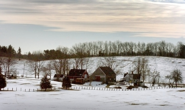 Amesbury: Thin clouds top a wintry scene of Woodsom Farm in a view from Whitehall Road in Amesbury. The scene will be even more winter-like when over six inches of snow is forecast for the end of the week. Bryan Eaton/Staff Photo