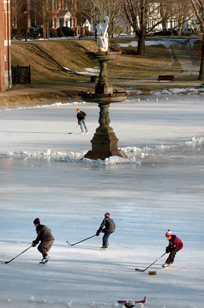 Newburyport: Youngsters practice their hockey skills on the Frog Pond at the Bartlet Mall yesterday afternoon, the site of the Newburyport Winter Carnival on Saturday January, 11. Bryan Eaton/Staff Photo