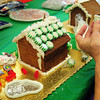Newburyport: Elsie Abrahams used aluminum foil to create a pond for her gingerbread project. Bryan Eaton/Staff Photo