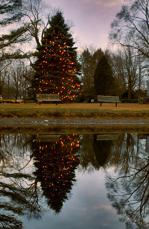 Newbury: Several Christmas Trees were lit over the past weekend including the one on Newbury's Upper Green, here, reflected in the Frog Pond. Amesbury's tree will be lit after a parade on Saturday afternoon and a little snow is possible in the weather forecast. Bryan Eaton/Staff Photo