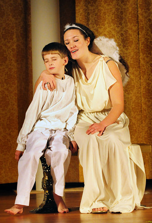 "Newburyport: Joey Cates, as the ""Littlest Angel"" Isaac and Emily Fluet as ""Patience."" Bryan Eaton/Staff Photo"