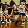 Byfield: Newburyport's Shelby O'Brien moves down the court past Governor's Academy defenders.Bryan Eaton/Staff Photo