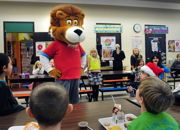 """Amesbury: """"Theodore"""" one of Chartwell School Dining Services """"Eat, Learn and Live"""" characters visited Amesbury Elementary School on Tuesday. The mascots from Chartwell, who provide meals at Amesbury Schools, stop at the various it services to help teach the children about good nutrition. Bryan Eaton/Staff Photo"""