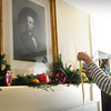 "Åmesbury: Whittier Home Association members, including Rosemary Werner here, decorated the home of the famed poet in Amesbury on Monday. They are having their ""Whittier Home Holiday Open House"" this Saturday from 3-5:00pm with member Cynthia Costello providing music on the spinet. Bryan Eaton/Staff Photo"