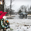 Salisbury: A wreath with flowers and other items adorn a tree on Route One in Salisbury where a car crashed into early Sunday morning resulting in the deaths of two brothers. Bryan Eaton/Staff photo