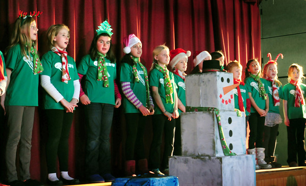 "Amesbury: The Cashman Chorus sing ""Frosty the Snowman"" during their Winter Concert on Wednesday morning for the school body. They repeated their performance later in the evening for parents. Bryan Eaton/Staff Photo"