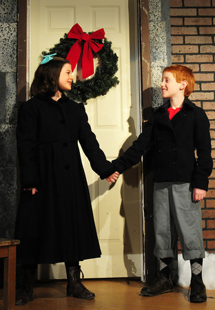 "Amesbury: One of two actresses portraying ""Virginia,"" Maya Gakidis with Patrick Kelleher as ""Ollie."" Bryan Eaton/Staff Photo"