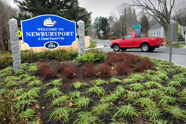 Newburyport: The much talked about roundabout at the end of Merrimac Street in Newburyport has gotten its final touches with plantings and a sign similar to the one on Storey Avenue near Interstate 95. Bryan Eaton/Staff Photo