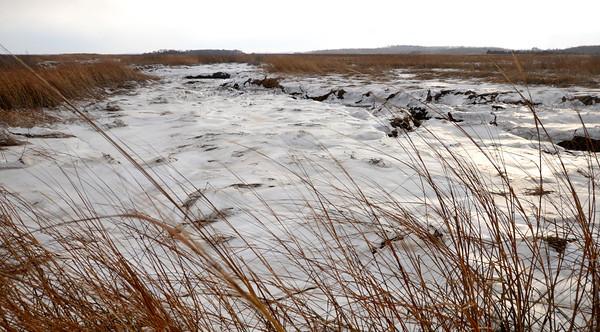 NewburyAn ice covered brook along the Plum Island Turnpike waits the weekend snow. Jim Vaiknoras/staff photo