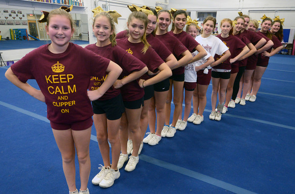 Amesbury: The Newburyport Youth Cheerleading team at All That Cheer and Tumble in Amesbury. Jim Vaiknoras/staff photo