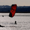 Salisbury: Jay Oczkowski of Seabrook kite surfs in the afternoon sun near the Salisbury Reservation boat dock Saturday. Jim Vaiknoras/staff photo