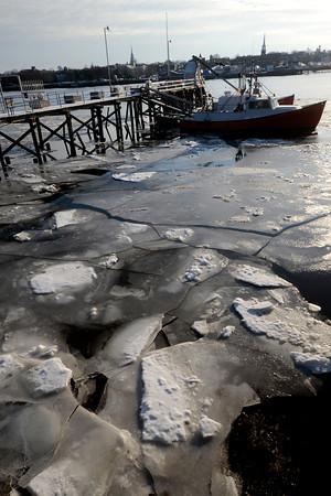 Salisbury: Ice chokes the Merrimack River near the Bridge Marina in Salisbury. Jim Vaiknoras/staff photo