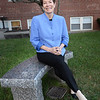 BRYAN EATON/ Staff Photo. President and CEO of the Anna Jaques Hospital, who is retiring after nine years, poses on a bench given in recognition of her leadership by the AJH Aid Association.