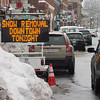 Newburyport: Signs in Newburyport's downtown, here on State Street, inform the public not to park on those streets from midnight last night until 7a.m. this morning for snow removal. Bryan Eaton/Staff Photo