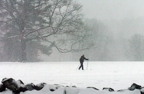Newburyport: Several cross country skiers were out in the snow at Maudslay State Park yesterday afternoon. Sun and warmer temperatures come are in the cards today, but a little more snow could fall this weekend. Bryan Eaton/Staff Photo