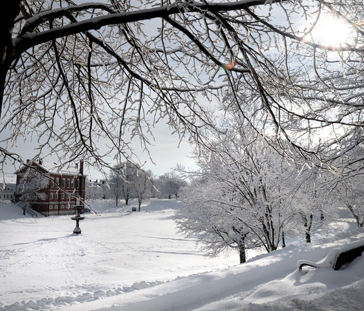 Newburyport: The Bartlet Mall in Newburyport was a winter wonderland yesterday morning, though it seems many people are tired of such beauty with March just over a week away. Bryan Eaton/Staff Photo