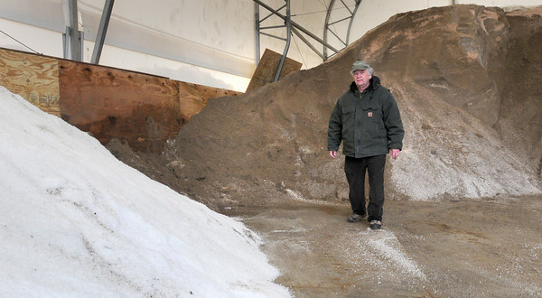 Salisbury: Salisbury DPW director Donald Levesque has gone through his budgeted 900 tons of salt this winter. His crew mixes one part salt with one half sand, shown in rear. Bryan Eaton/Staff Photo