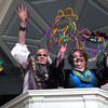 Newburyport: Lois von Fricke, left, and Mary Chick show off their Mardi Gras beads and are ready to celebrate this weekend's Masquerade Ball to benefit St. Paul's Church. Bryan Eaton/Staff Photo