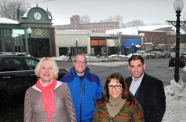 "Amesbury: The Amesbury Downtown Business Association is kicking off ""Third Thursdays"" with participating members opening late on the third Thursday of the month. Members, from left, Deb Pagley, Parke Place; Ed Justen, Wordspace 36; Kathi Gannett, (president of the group) Attentif Design; and Aran Zemanian of Zemanian Jewelers. Bryan Eaton/Staff Photo"