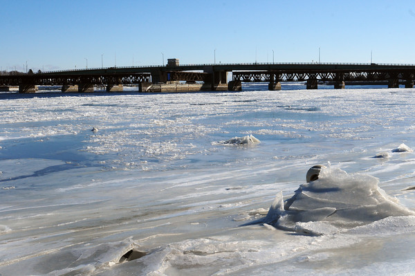 Newburyport: Ice covers the Merrimack River, but not all of it, in a view from Cashman Park. Reports from years ago contend that people and horses could walk across the river when it was totally frozen over. Bryan Eaton/Staff Photo