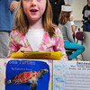 Newbury: Newbury Elementary School first-grader Caroline Perry, 6, gives her presentation on sea turtles. The students researched different animals and presented them on their annual Habitat Walk to parents on Thursday. <br /> Bryan Eaton/Staff Photo